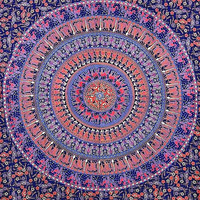 Indian Mandala Tapestry, Indian Tapestry Throw Bedspread Etchnic Decor, Hippy Hippie Wall Hanging,Bohemian Tapestry, Round Mandala Tapestry