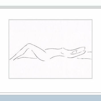 Minimalist ink drawing of a nude figure. Black and white art. Woman on the bed. Original illustration. Wall decor.