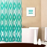 Diamond Pattern 70-Inch x 72-Inch PEVA Shower Curtain in Teal