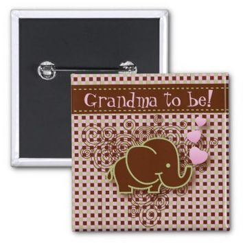 Pink and Brown Baby Elephant   Grandma to be 2 Inch Square Button