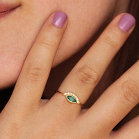 Marquise Emerald Ring with Pave Diamonds - Emerald Engagement Ring - 18k Solid Gold