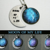 """Game of Thrones Inspired """"Moon of My Life"""" Color Shifting Antique Silver Hand Stamped Necklace"""