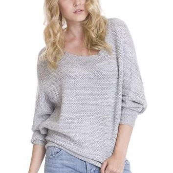 Women's Hana Marled Gray Casual Knit Pullover Dolman Sweater by One Grey Day
