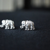 Silver Elephant Studs -- Elephant Earrings, Lucky Elephant Studs