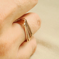 Six Golden Square Top Rings Set of Six Threads of by MARYJOHN
