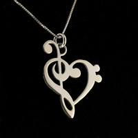 G clef bass clef heart Necklace silver music by Silversmith925