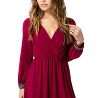 Embellished Cuff Surplice Dress