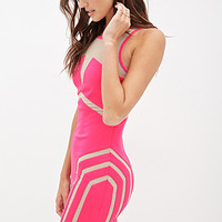 FOREVER 21 Mesh-Paneled Bodycon Dress Pink/Nude