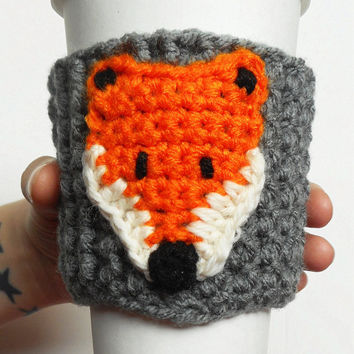 Little Fox Coffee Cozy, Grey and Orange, ready to ship.