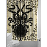 Cream & Black Kraken Up Shower Curtain