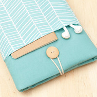 ipad mini sleeve / ipad mini case / ipad mini cover - sea lines with pockets -
