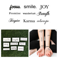 Quotes Set - Temporary Tattoo (Set of 9)