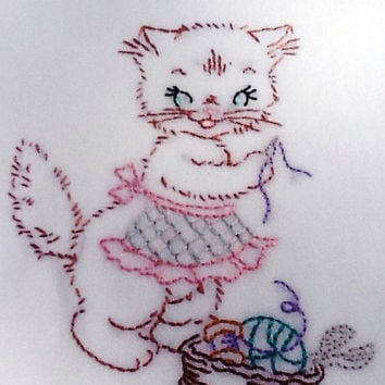 SALE- TAKE OFF 15% Embroidered Floursack Kitchen Towels, Miss Kitty Kat