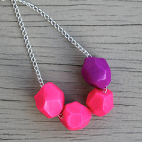 Geometric Necklace : Neon Pink and Purple Geometric Polymer Clay Bead Necklace, Color Blocking, Bohemian, Silver Chain with Floral Accent