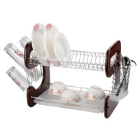 2-Tier Wood & Metal Dish Rack Chrome Plated Mahogany Finish