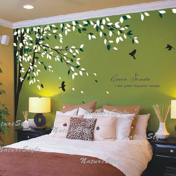 Branch with Flying Birds -Vinyl Wall Decal,Sticker,Nature  For nursery Room tree decal branch decal home decor  wedding decor