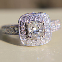 2 carats total Round and Cushion Cut Diamond Engagement Ring -14K white gold - Halo - Antique Style - Weddings -Bp020