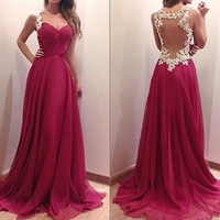 Vakind® Sexy Women Off Shoulder Strapless Evening Party Gown Maxi Dress