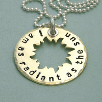 Radiant as the Sun - Hunger Games Jewelry - Hand Stamped Brass and Sterling Silver Necklace