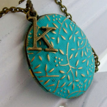 Turquoise Floral Vine Oval Locket Necklace, Graduation Gift Jewelry