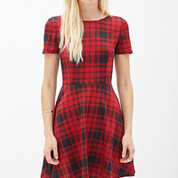 FOREVER 21 Plaid Scuba Knit Skater Dress Red/Black Large