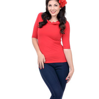 1950s Style Red Mandie Bee Lily Knit Top