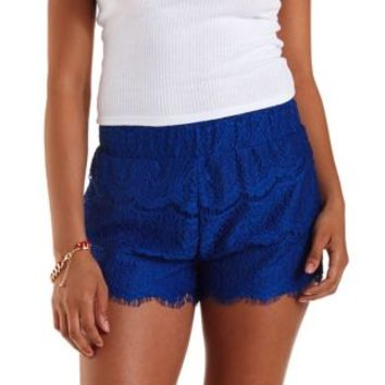 Cobalt Pull-On Eyelash Lace Shorts by Charlotte Russe