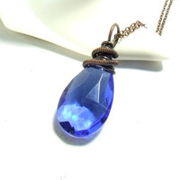 Royal blue necklace, copper necklace, blue drop pendant, wire wrapped handmade necklace