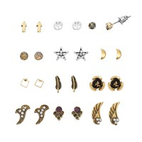 Mudd Peace Sign, Arrow, Wing, Flower, Star, Square, Feather & Moon Stud Earring Set
