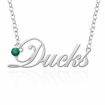 Oregon Ducks Script Necklace with Crystal Ball Accent Charm. Free Shipping