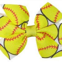 "Ship From USA--Hip Girl Boutique 2pc Small 3"" Softball(White/Lemon) Grosgrain Ribbon Pinwheel Hair Bow on Lined Alligator Clips"