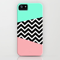 Pastel Chevron Tiffany Rose 80's Pattern iPhone & iPod Case by RexLambo