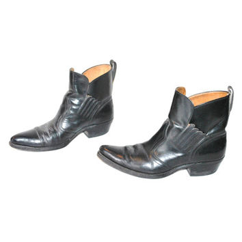 mens WESTERN chelsea boots vintage 70s 80s POINTY black leather rock n roll RETRO slip on cowboy ankle booties