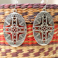 Bohemian Tribal Boho dangle silver tone earrings/Southwestern/Native/African/Tribal/free people style/vintage look/Hand crafted