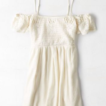 AEO Women's Off-the-shoulder Crocheted Dress (Cream)