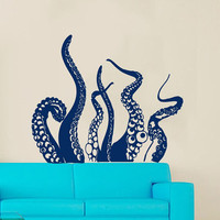 Wall Decals Vinyl Decal Sticker Home Interior Design Mural Sea Ocean Animals Octopus Tentacles Bathroom Kids Nursery Baby Room Decor KT80