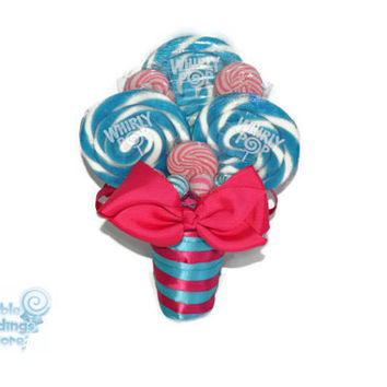 Lollipop Bouquet, Maid of Honor Bouquet, Candy Bouquet,  Lollipop Wedding Bouquet, Bridesmaid Bouquet, Fuchsia, Hot Pink, Turquoise
