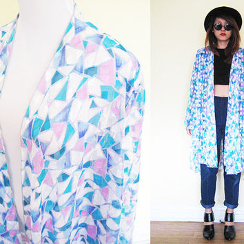 Vintage sheer see through duster draped prism print beach cover duster blue bell sleeves hippie boho bohemian