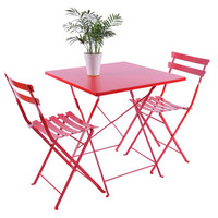 Outsunny 3 pc Outdoor Patio Furniture Bistro Dining Chair & Table Set - Red