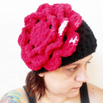 Statement Cloche Hat with Jumbo Rose Fascinator in Red and Black, ready to ship.