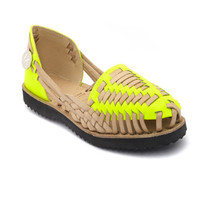 Women's Neon Yellow Woven Leather Huarache Sandal