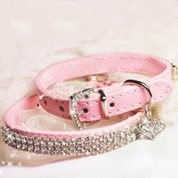 """SKL Hot Pink Pet Collar with Sparkly Rhinestones for Cats or Dogs (7.87"""" - 10.43"""")"""