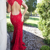 Red Dresses - Jovani Prom 90676 Long Lace