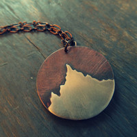 The Peak: Mountain Pendant - Copper and Sterling Silver Mountain Necklace - Winter Jewelry
