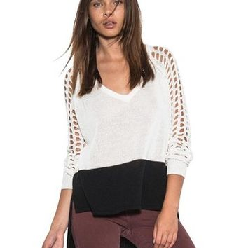 Women Casual Marley Sleeve Light Sweater White Color Block One Grey Day