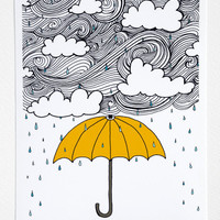 $15.00 The Yellow Umbrella  Illustration by Taren S by osloANDalfred