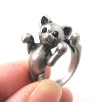 3D Kitty Cat Two Tailed Animal Wrap Around Ring in Silver - Sizes 5 to 9 Available