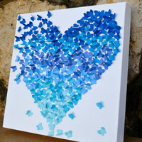 Blue Ombre Butterfly Heart/ 3D Butterfly Wall Art/ by RonandNoy
