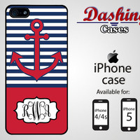 Personalized iPhone case for iPhone 4 & 4s and 5 - blue and red anchor nautical monogram - 012