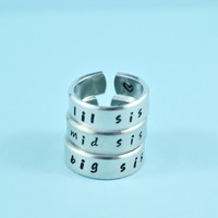 [♡054] big sis/mid sis/ lil sis - Hand Stamped Rings Set, Forever Sisters Rings, Personalized Gift